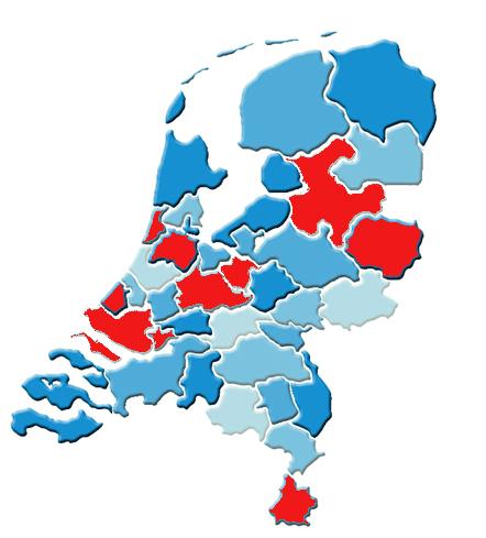 Kaart van Nederland met regionale netwerken